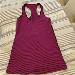 Pink/purple stripe. Lululemon top. Size 6